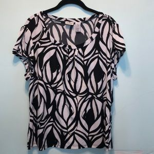 Black & White Patterned Stretch Top